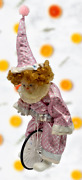 Vtg Bradley's Collectible Dolls Clown Pink Tagged Outfit And Circus Bike Bicycle