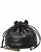 Black Quilted Lambskin Leather Bucket Bag Authentic Pre-owned Womenand039s