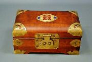 Antique Vintage Chinese China Wooden Brass Enamel Jewelry Casket Chest Box
