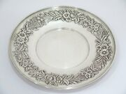 10 In - Sterling Silver S. Kirk And Son Antique Floral Repousse Round Platter