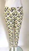 Prada It 44 Uk 12 Cream Floral Crisp Cotton Ankle Length Trousers With Stretch