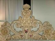 Vintage Queen French Provincial Rococo Carved Headboard Cream Hand Painted
