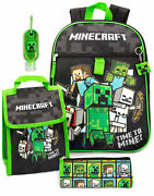 Minecraft Backpack And Lunch Box Kids 5 Piece School Rucksack Bag Set One Size
