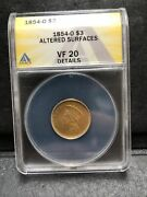 1854 O 3 Gold Piece Anacs Vf 20 Detail Us Gold