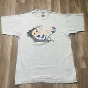 Vintage Fruit Of The Loom Betty Boop Mens Gray Crew Neck Pullover T Shirts Large