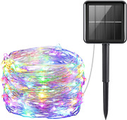 Amir Upgraded Solar String Lights Outdoor Mini 33feet 100 Led Copper Wire Light