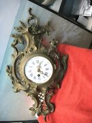 Vintage French Wall Clock, Brass/bronze, As Is Parts Only