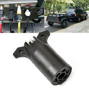 12v Rv 7 Way Round To 4 Pin Flat Trailer Light Adapter Plug Connector Boat Black