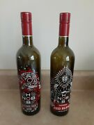 Wicked Red Hob Nob Day Of The Dead Skull Zombies Bottles Pair Halloween Decor