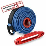 Blue 95and039 3/8 Synthetic Winch Rope 22000lb Line Cable W/ 10 Red Hawse Fairlead