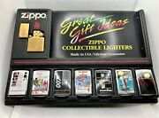 New Zippo Limited Edition James Bond 007 Movies Lighter Set Of 8 And Display Board