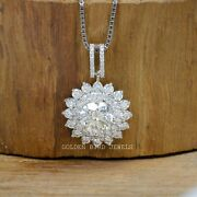Colorless Round Moissanite Floral Pendant / Halo Moissanite Pendant For Womens