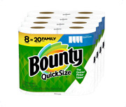 Bounty Quick-size Paper Towels White 8 Family Rolls = 20 Regular Rolls