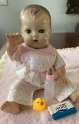 Vintage Tiny Tears Doll 12andrdquo Vinyl Hands Down Pajamas - No Tear Ducts Potty Baby