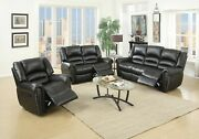 Black Living Room Furniture 3pc Motion Sofa Set Bonded Leather Reclining Couch