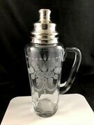 Hawkes Large Cut Glass Rose Swag 12 1/2 Cocktail Shaker W/ Sterling Lid Signed