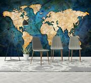 3d Blue Poster 21050nao World Map Wallpaper Mural Removable Self-adhesive Fay