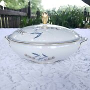 Eschenbach Gold And Blue Stalk And Leaves Round Covered Vegetable Bowl