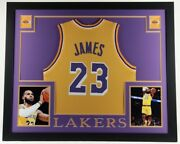 Lebron James Unsigned Custom Framed Jersey Display 35x43 Los Angeles Lakers