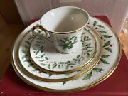 Set Of Lenox Holiday Dimension Collection Dishes. Mistletoe. 3 Plates, 1cup