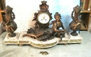 Vintage 19th Century French Large Mantel Clock With Garnishments