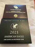 2021 American Eagle 1/10 Oz Gold Proof Type 1 And Ase Andldquowandrdquo Silver Unc. Type 2
