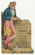 Uncle Sam Wenger's Furnishings Grand Rapids Michigan Diecut Victorian Trade Card