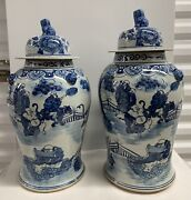 Pair 2 Chinese Blue And White Chinoiserietemple Jars 19andrdquo And 19 1/2andrdquo X 10andrdquo