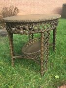 Anique Rare Victorian Wicker Heywood Wakefield Oval Table