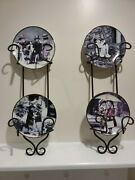 Kim Anderson Plates 1996 Pretty As A Picture Lot Of 4 Enesco With Hanging Racks