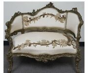 Antique Continent Rococo Settee 19th C. Hand Carved Cherubs Monkey Serpent