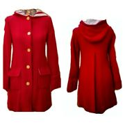 Nwot Trovata Anthropologie Large Wool Blnd Fully Lined Hooded Coat Owl Buttons