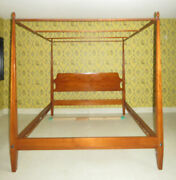 King Ethan Allen Country Colors Canopy Poster Bed 14 5671 Autumn Maple Finish