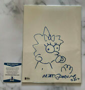 Matt Groening Signed Autograph Sketch 12x9 Canvas Maggie The Simpsons Drawing