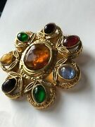 Couture Vintage 1996 Pin Brooch Gripoix Glass Huge Pendant For Necklace