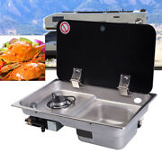 Lgp Gas Range Stove 1 Burner Rv Camping Tempered Glass Lid And Ss304 Sink Cook