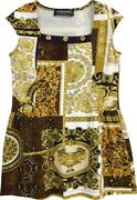 Versace Kids' Barocco Patchwork Dress Size 10y Girls, Gold-brown-white