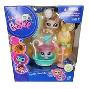 New 2009 Littlest Pet Shop Squeaky Clean Pets 1444 1445 Cat Seal