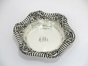 6.5 In Sterling Silver Reed And Barton Antique Hibiscus Striped Rim Candy Nut Dish