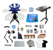 6 Color 6 Station Screen Printing Materials Kit T-shirt Press With Flash Dryer