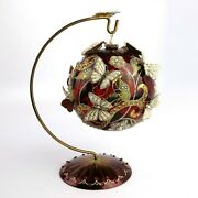 Jay Strongwater 20th Anniversary Butterfly Ball 4 Ruby Glass Ornament Stand New