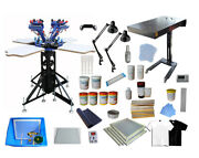 4 Color 4 Station Screen Printing Materials Kit T-shirt Press With Flash Dryer
