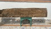 Antique Old Wooden Peacock Fish Elephant Figure Carved Temple Door Wall Panel