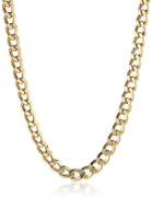 14k Solid Gold 3.8mm Cuban Curb Link Chain Necklace - Multiple Lengths And Color
