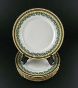 Jean Pouyat Limoges 8.5 Laurel Gold And Green Salad Luncheon Plates Set 5