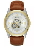Relic By Fossil Menand039s Blaine Automatic Two-tone Brown Leather Skeleton Watch
