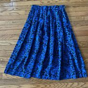 Country Sophisticates Pendleton Blue Pleated Summer Skirt Floral Plus Size 14