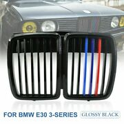 Front Hood Kidney Grill M3 Look Gloss Black M Color For 82-1994 Bmw E30 3 Series