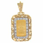 2.5 Gram Ingot Pendant Framed In 14k Yellow Gold With 0.20 Cts In Diamonds.