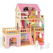 Large Wooden Dollhouse Doll House Pink Children Kids Pretend Play W/ 7 Furniture